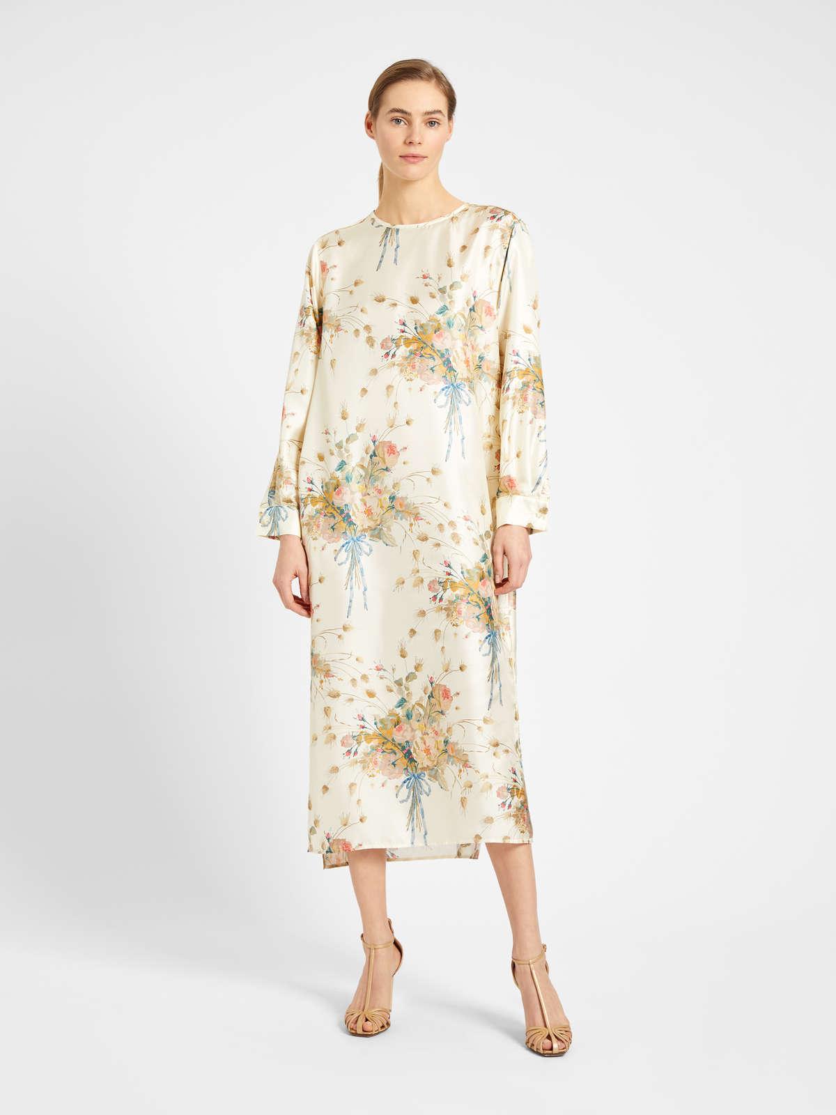 Long dress in printed pure silk twill - Max Mara
