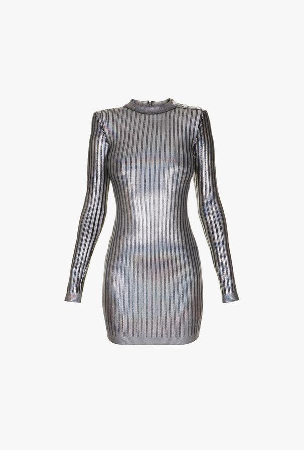 Striped Silver Minidress - Balmain