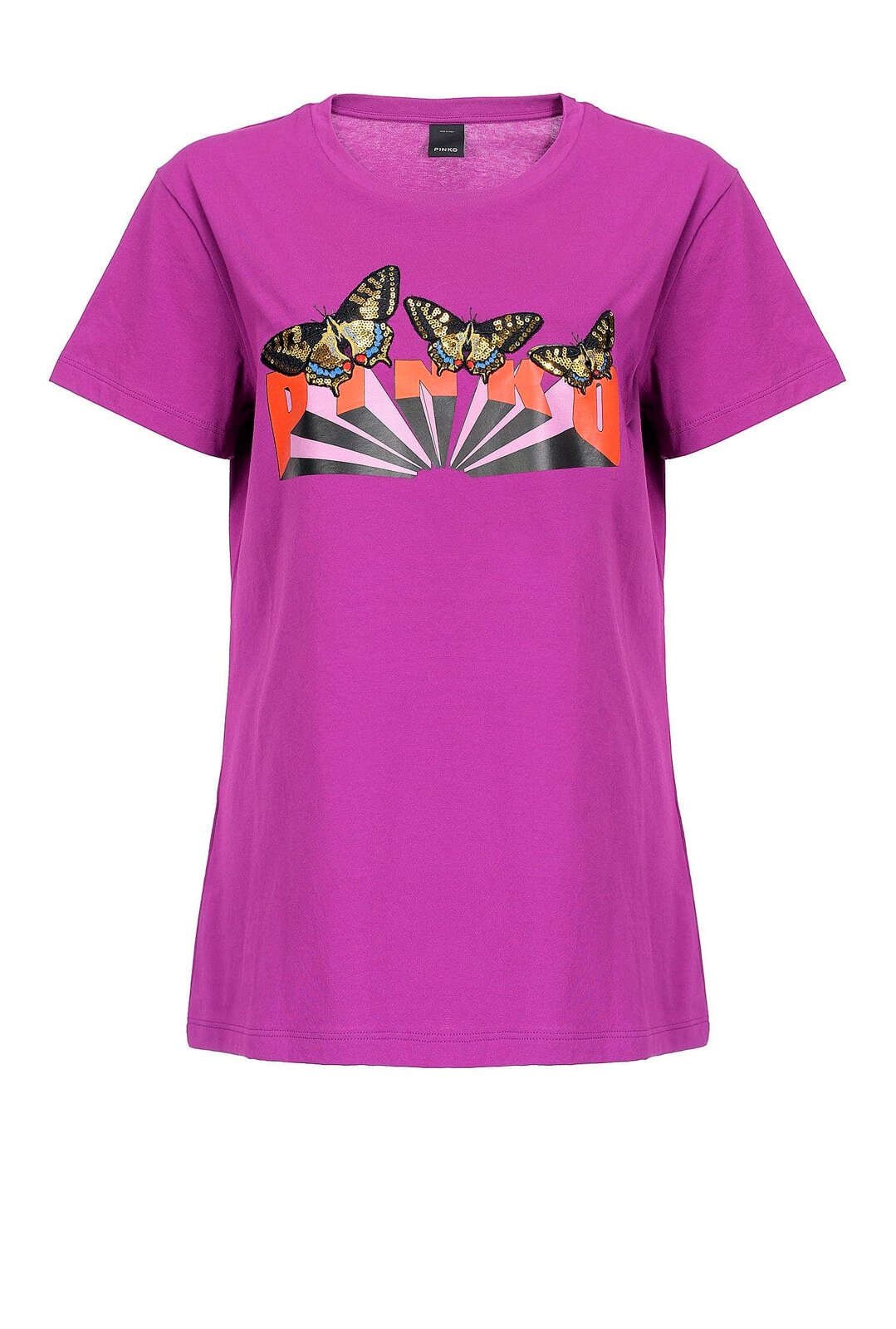 Logo T-Shirt With Butterflies - Pinko