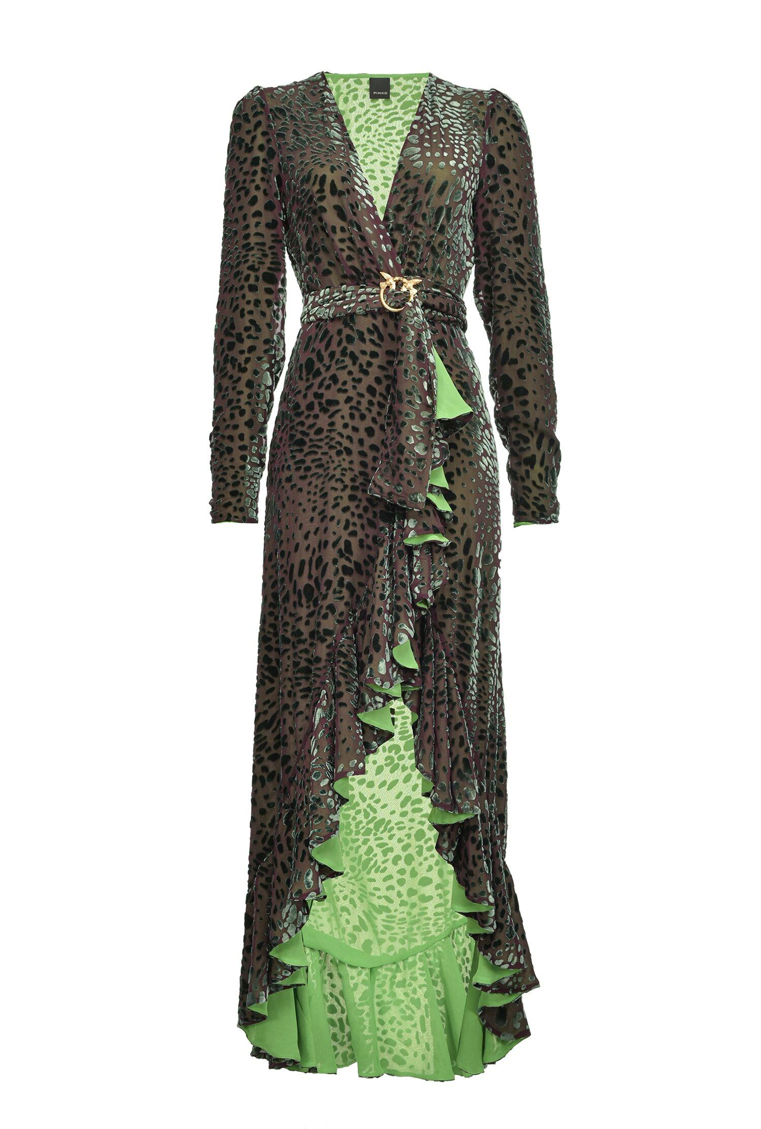 Devorè Velvet Dress With Flounce - Pinko