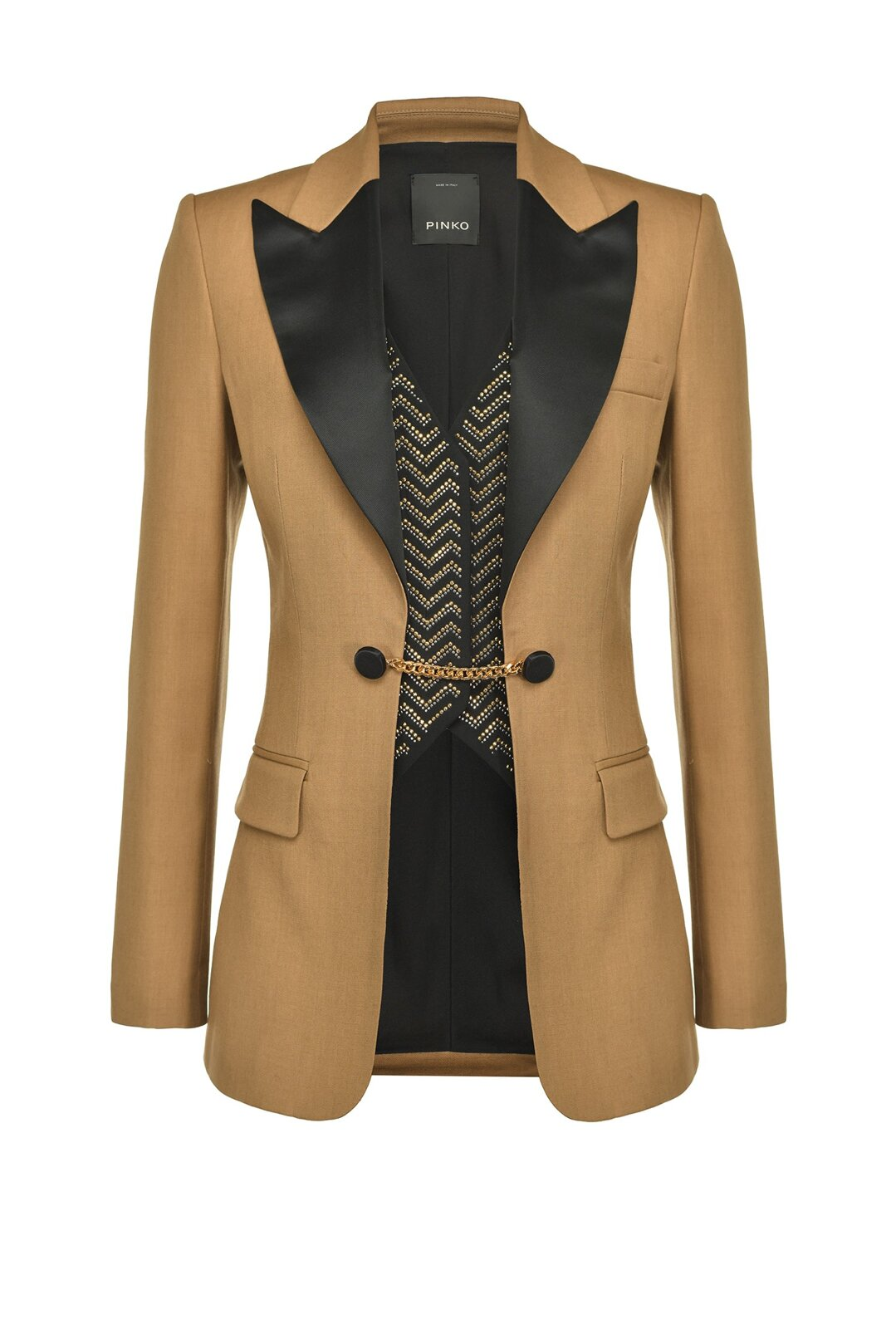 Blazer With Vest Embellished With Metal Rhinestones - Pinko