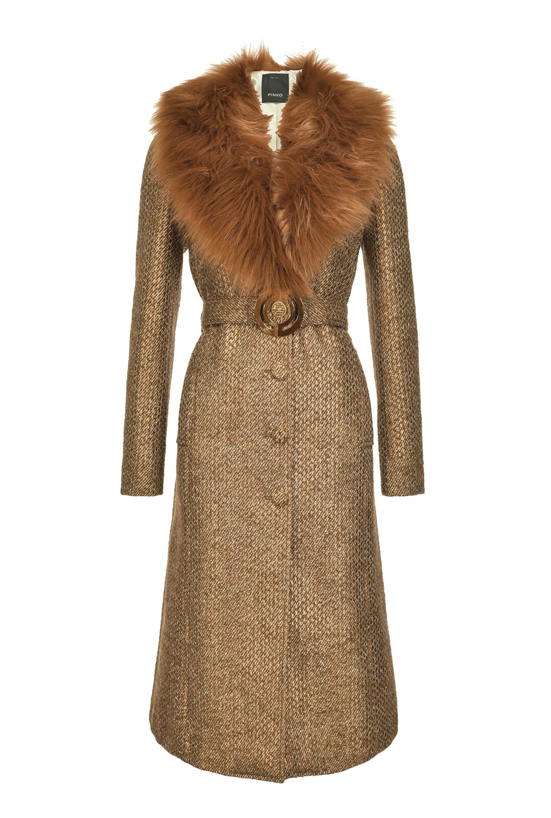 Cappotto Lungo In Tweed Con Faux Fur - Pinko