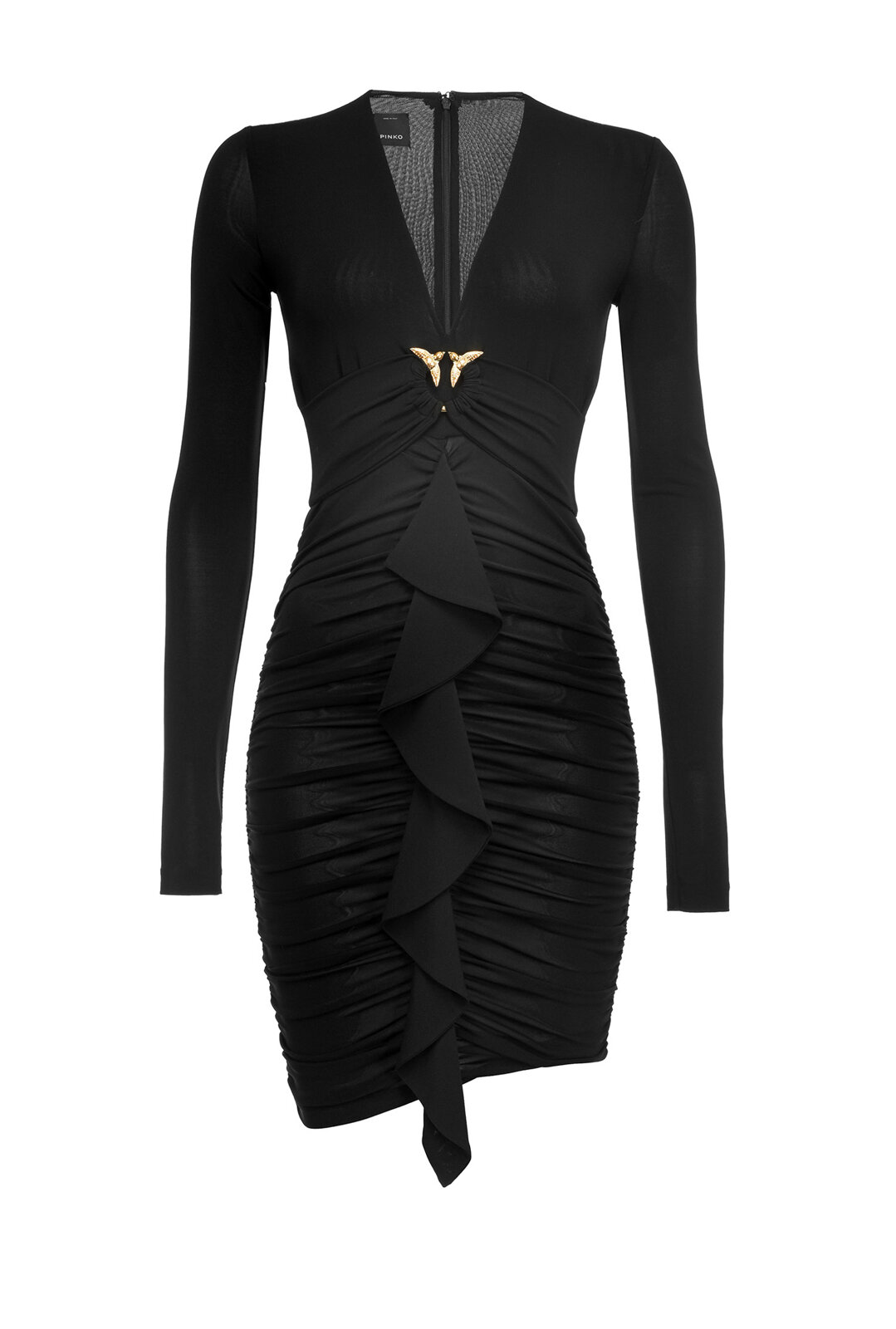 Fitted Dress With Love Birds Buckle And Ruffles - Pinko
