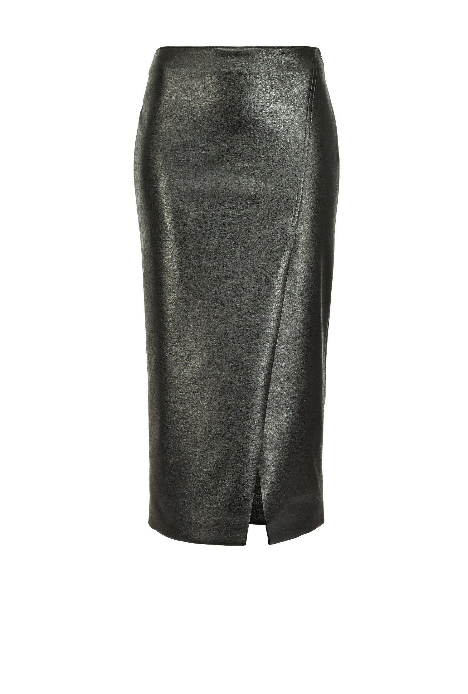Laminated Scuba Effect Longuette Skirt - Pinko