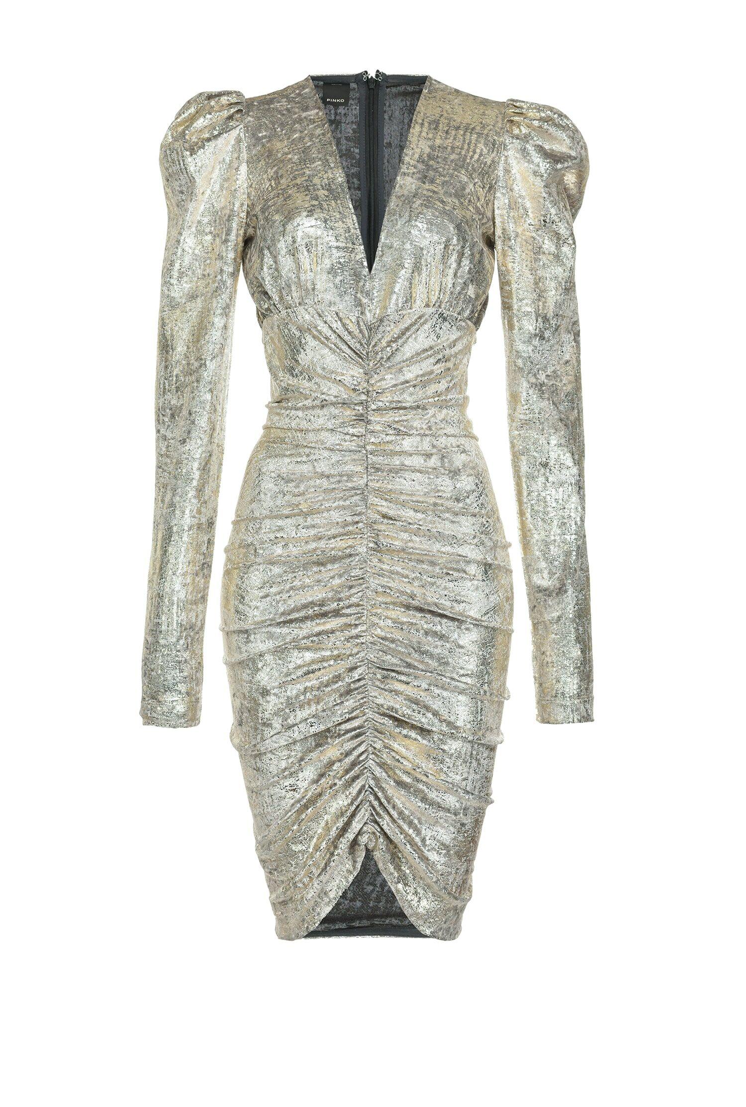 Short Dress In Laminated Chenille Jersey - Pinko