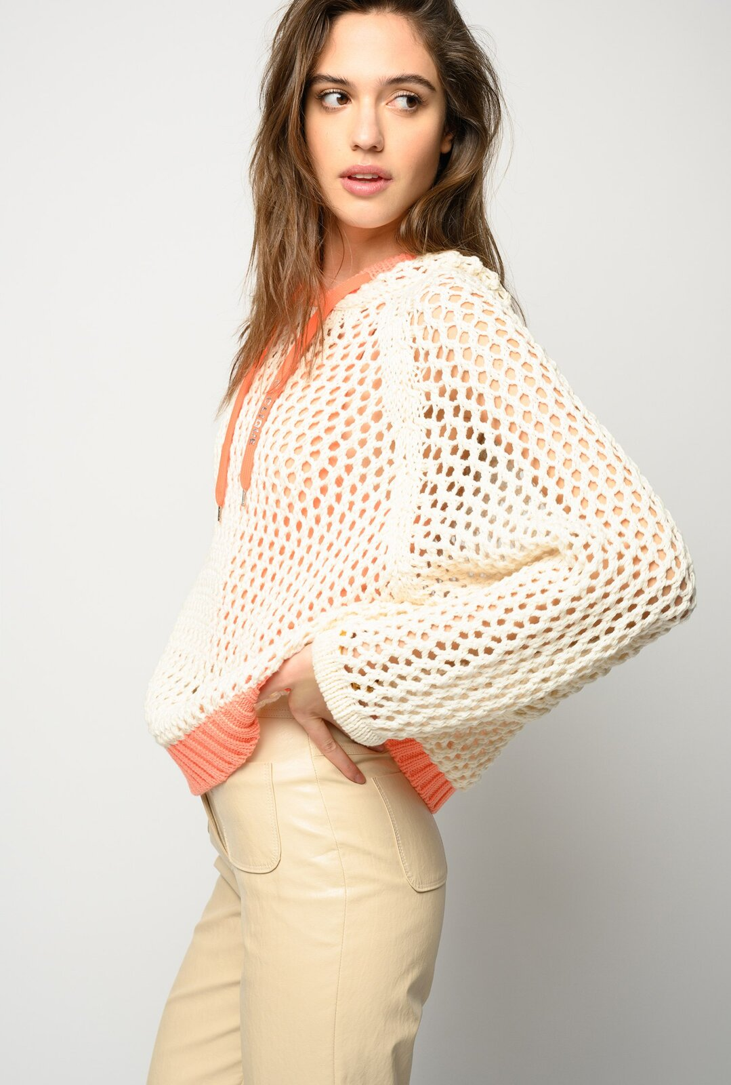 Crochet Net Effect Pullover - Pinko