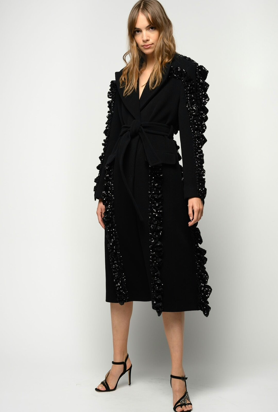 Coat With Rouches And Sequins Reimagine - Pinko