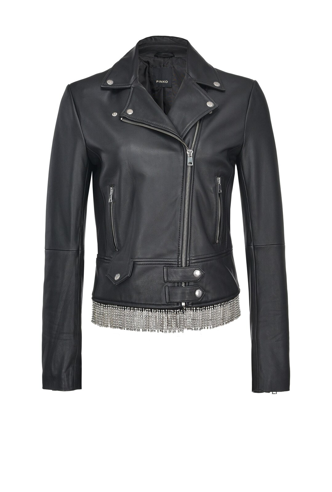 Reimagine Leather Biker Jacket With Strass - Pinko
