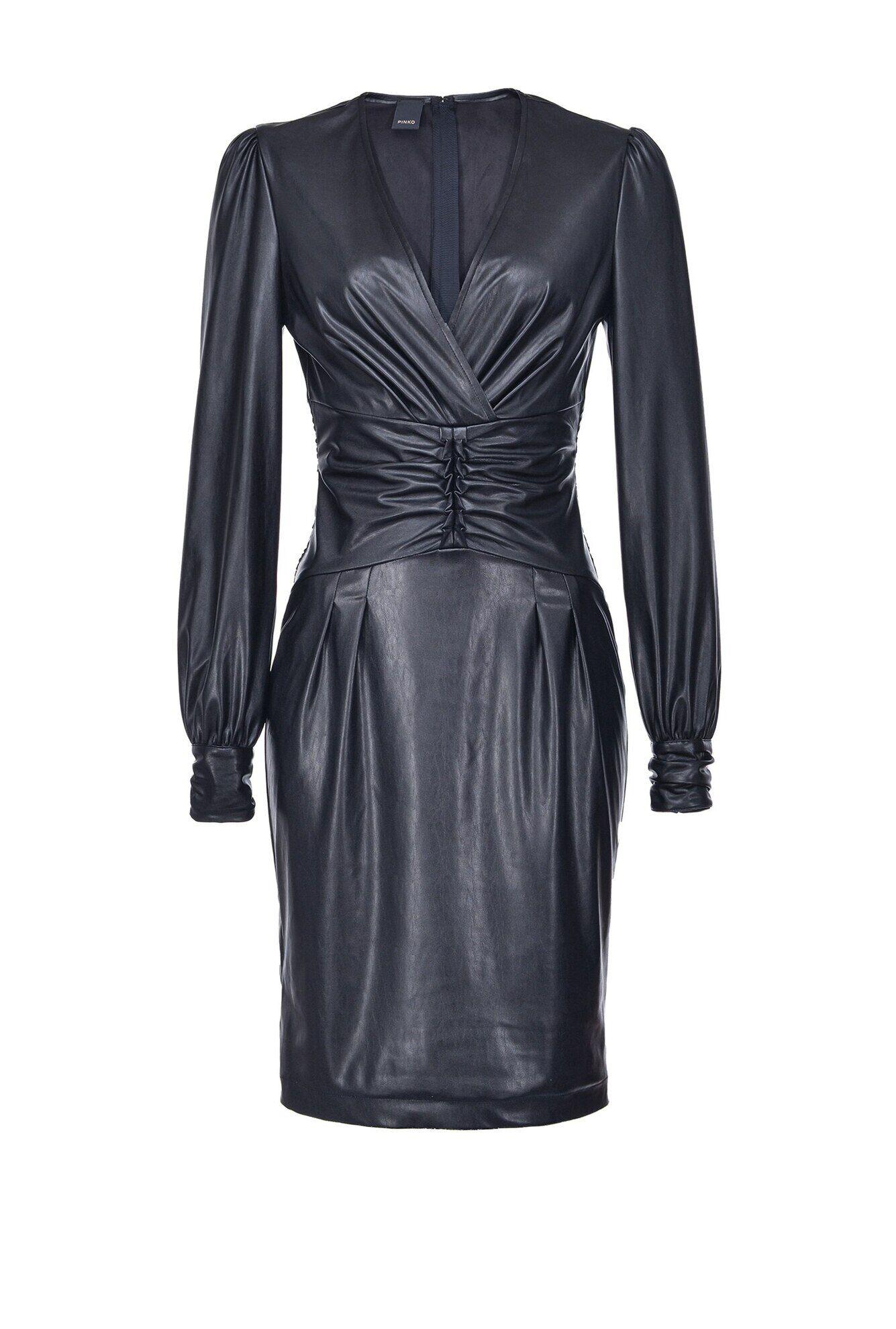 Leather Effect Longuette Dress - Pinko