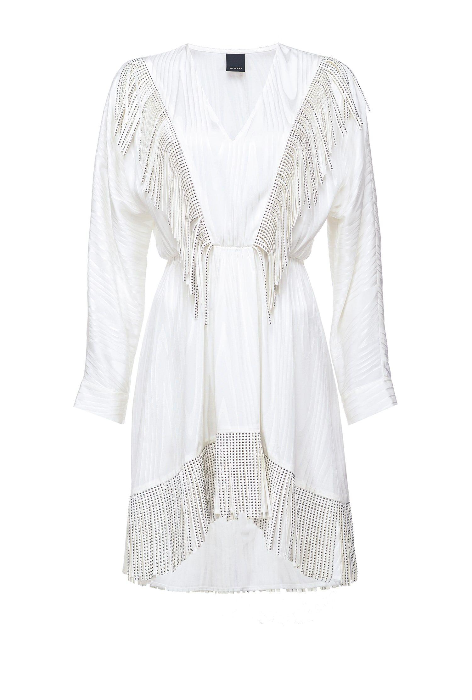 Short Dress With Rhinestone Fringes - Pinko
