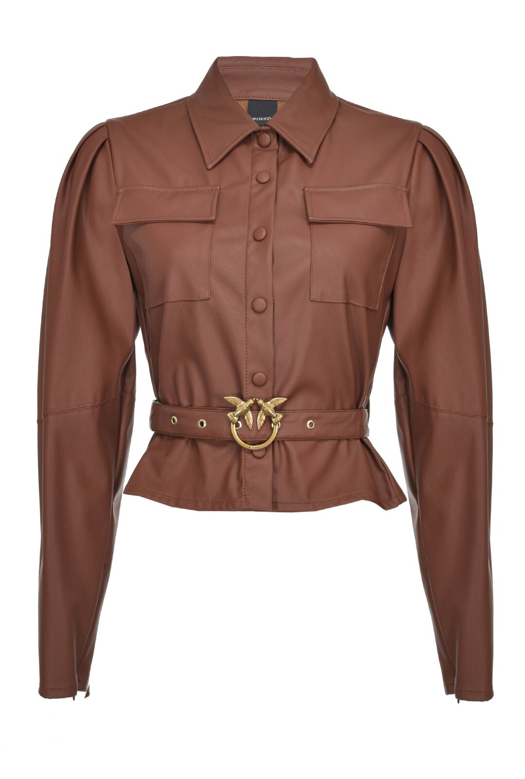 Short Leather Effect Shirt With Love Birds Buckle - Pinko