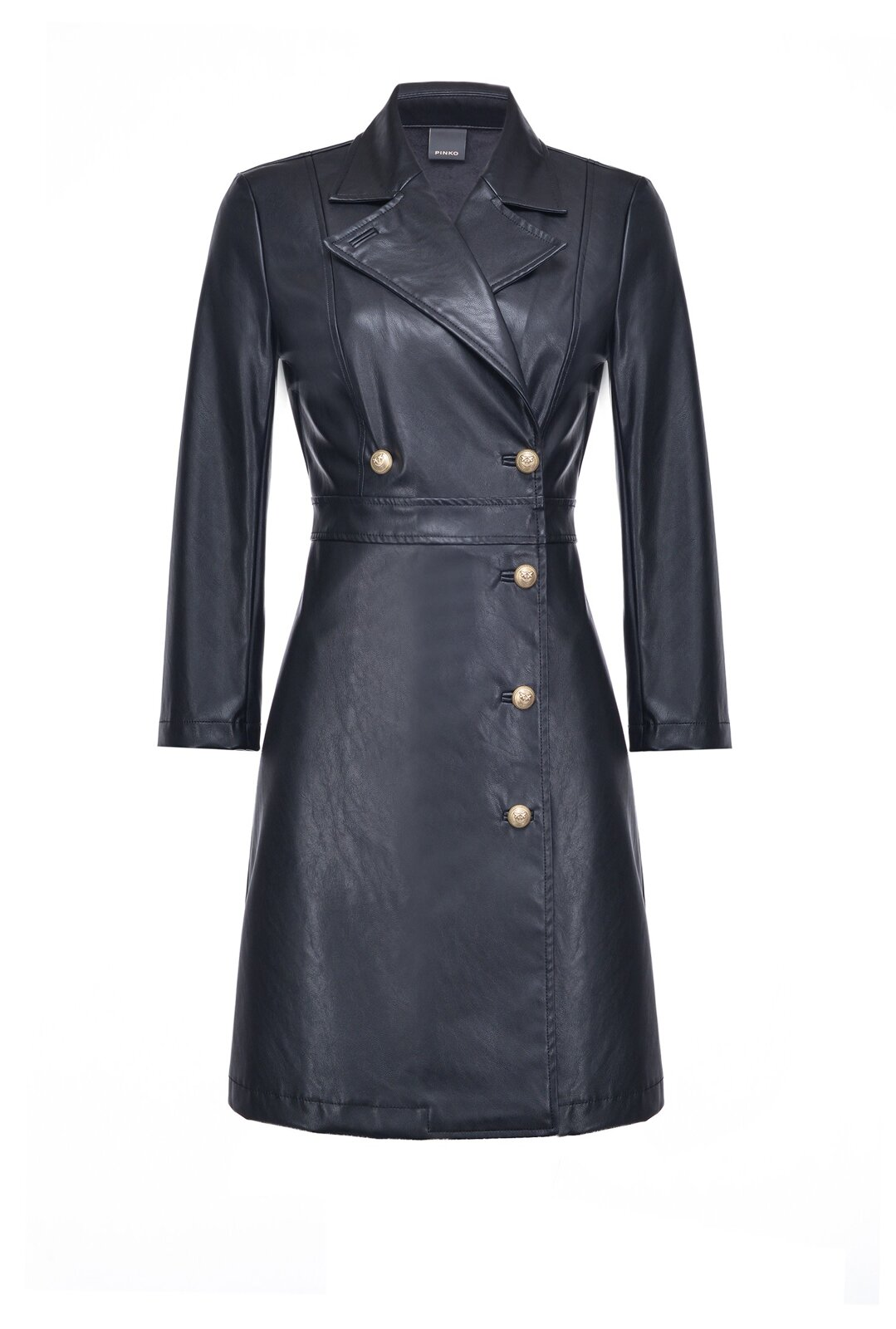 Double Breasted Leather Effect Dress With Buttons - Pinko