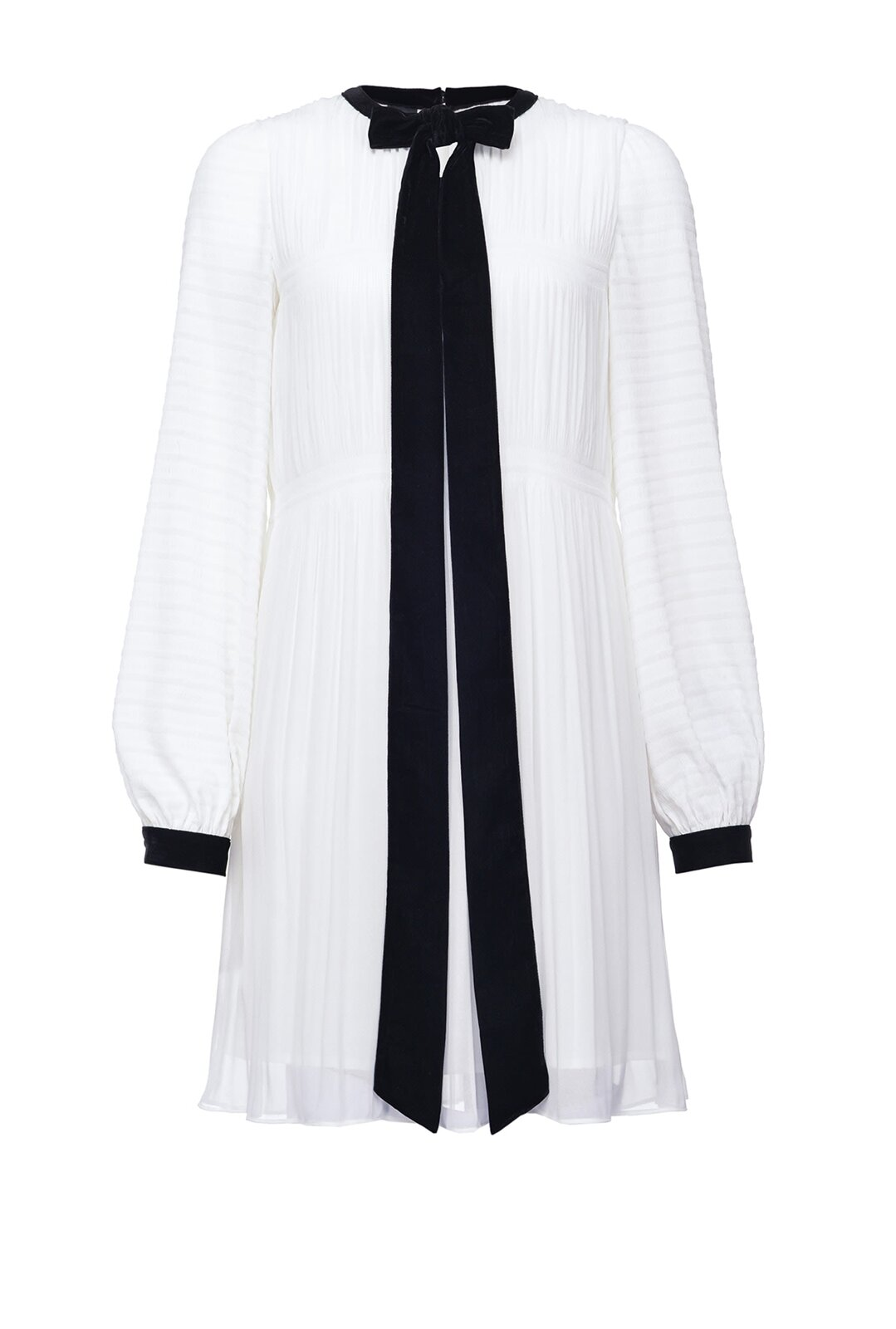 Georgette Pleated Dress With Bow - Pinko