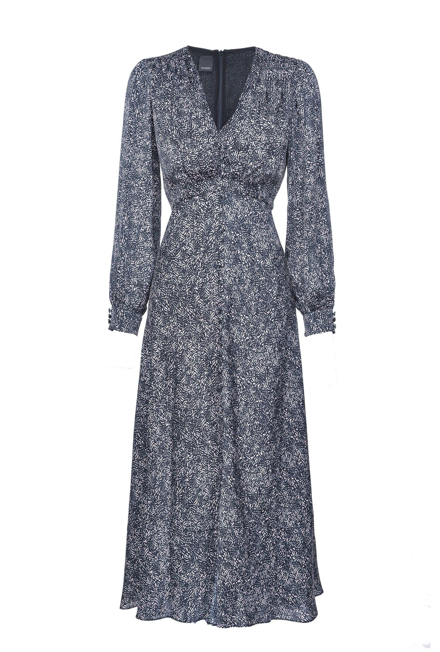 Long Dress In Printed Satin - Pinko