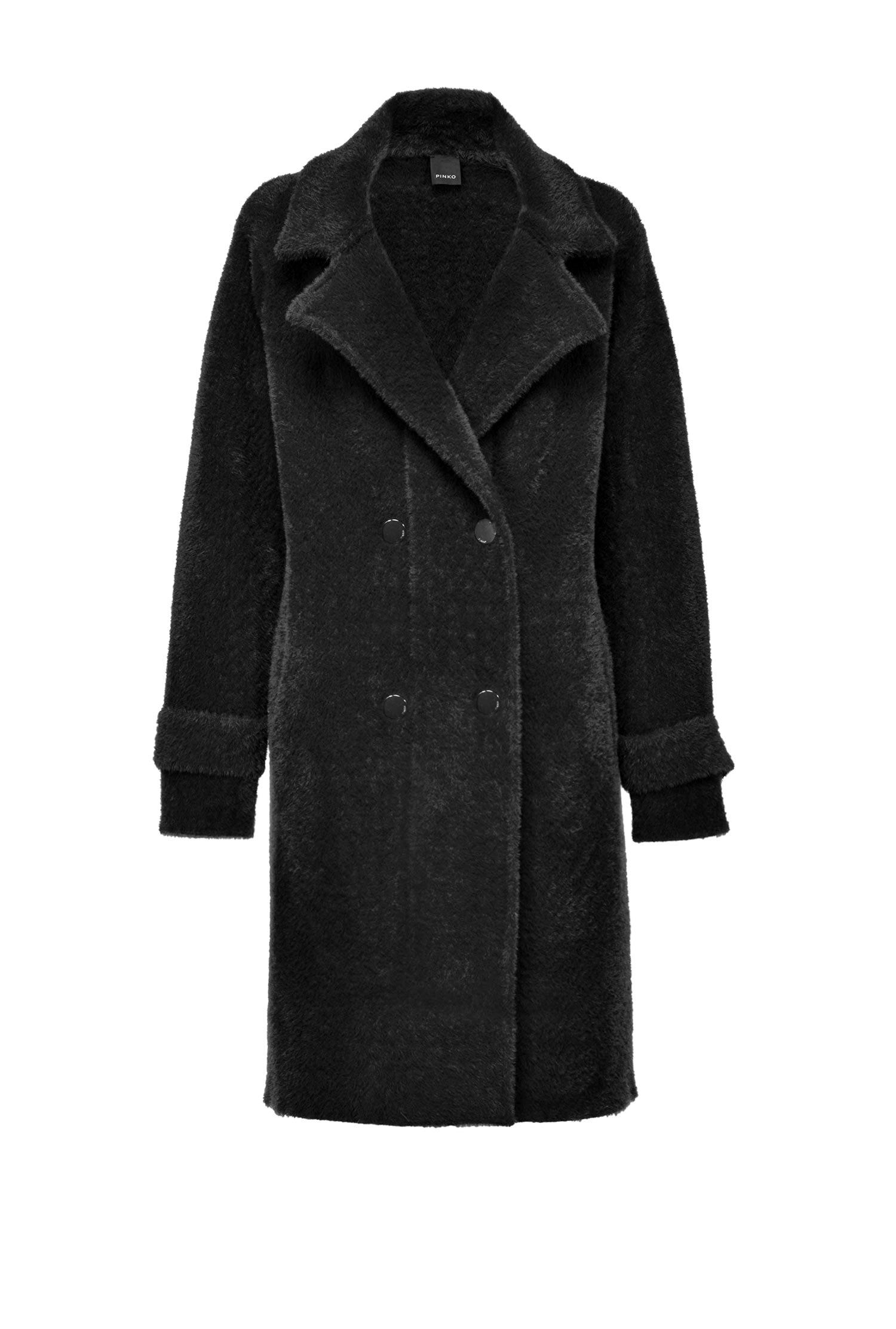 Cappotto Doppiopetto In Faux Fur - Pinko