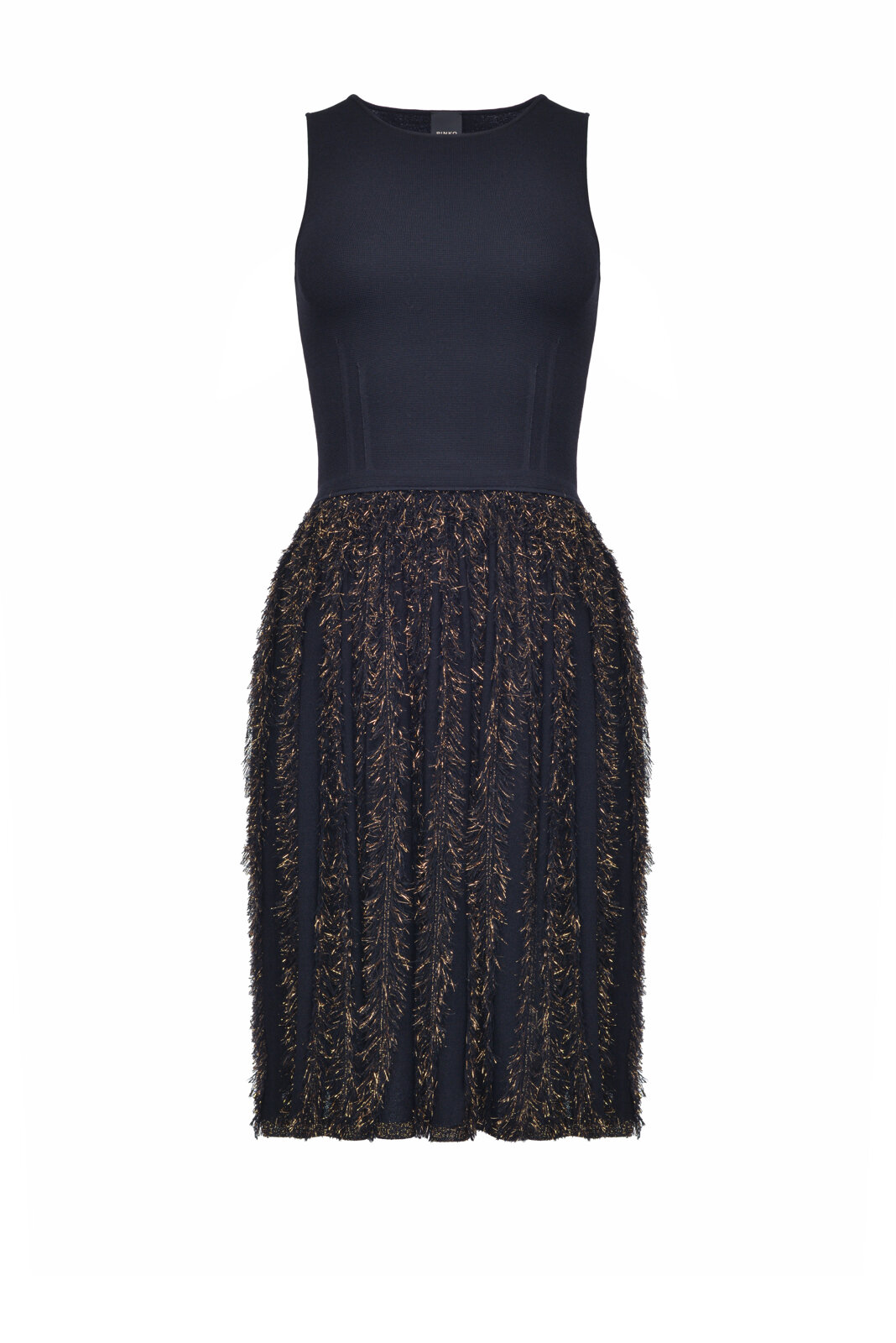 Short Dress With Lurex Fringed Skirt - Pinko