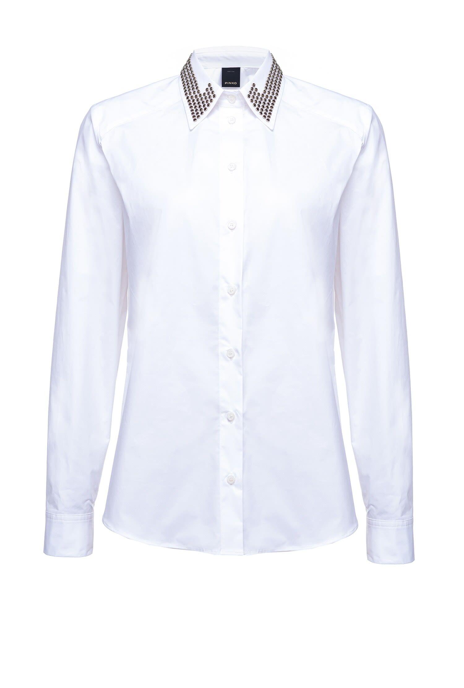 Camicia In Popeline Con Colletto Strass - Pinko