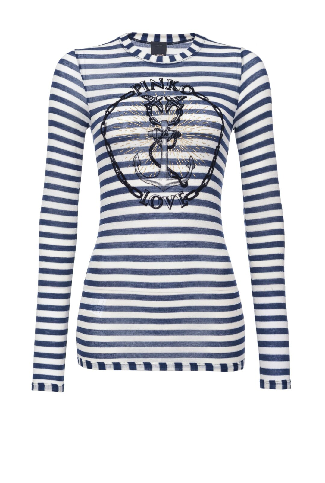 Striped Pinko Love Sweater With Anchor - Pinko