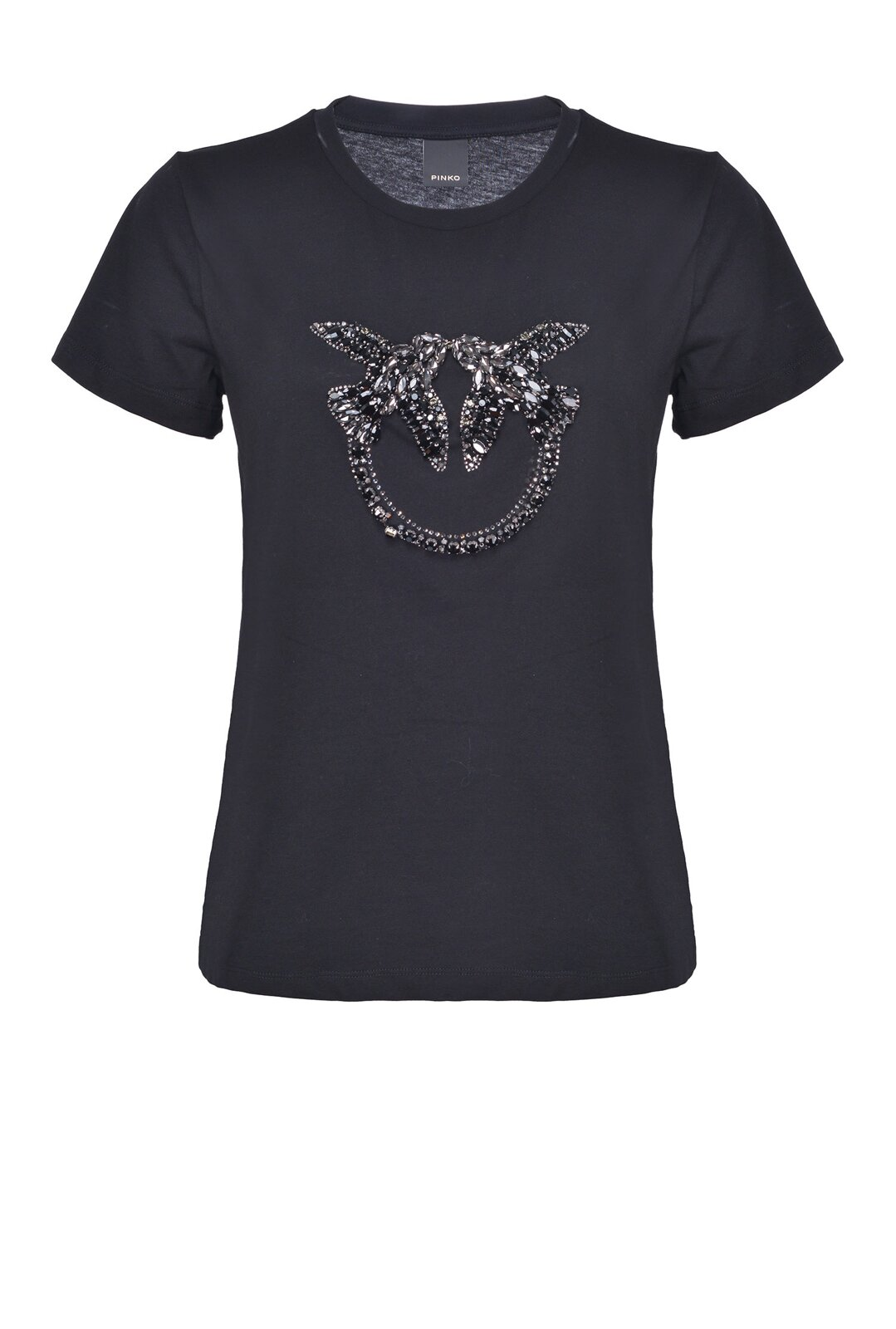 Love Birds Shiny Embroidered T-Shirt - Pinko