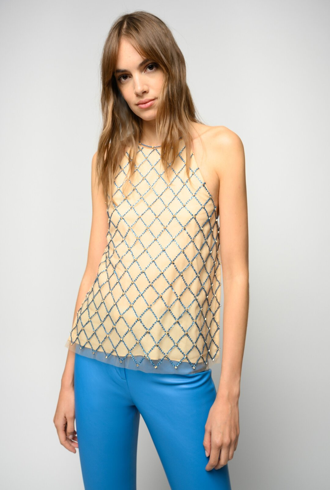 Top With Embroidered Crystal Mesh - Pinko