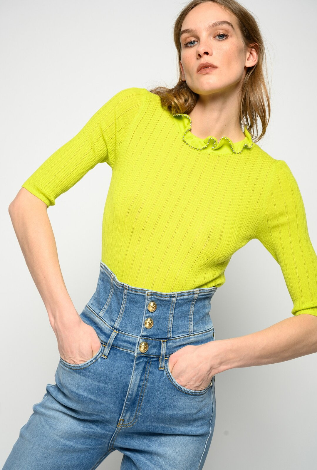 Sweater With Ruched Collar And Strass - Pinko
