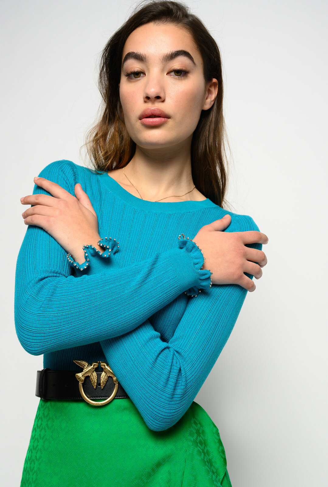 Sweater With Rouches And Rhinestones On The Cuffs - Pinko