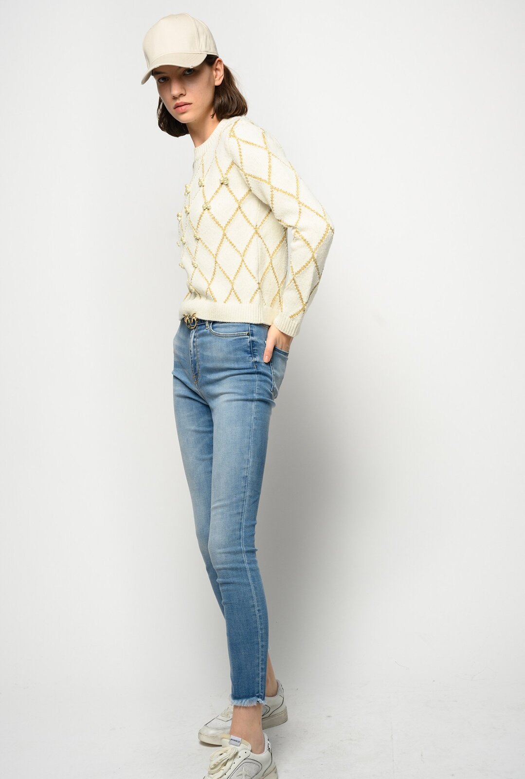 Lurex Pullover With Embroidered Pearls - Pinko