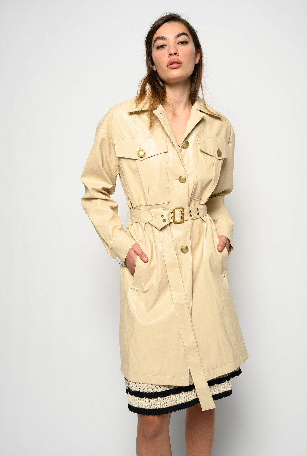 Washed Leather Effect Trench Coat - Pinko