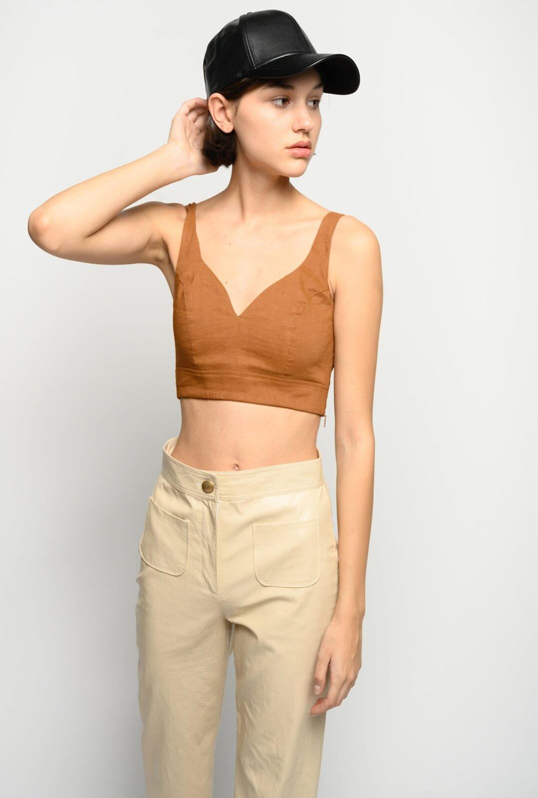 Crop Top In Tela Di Lino - Pinko