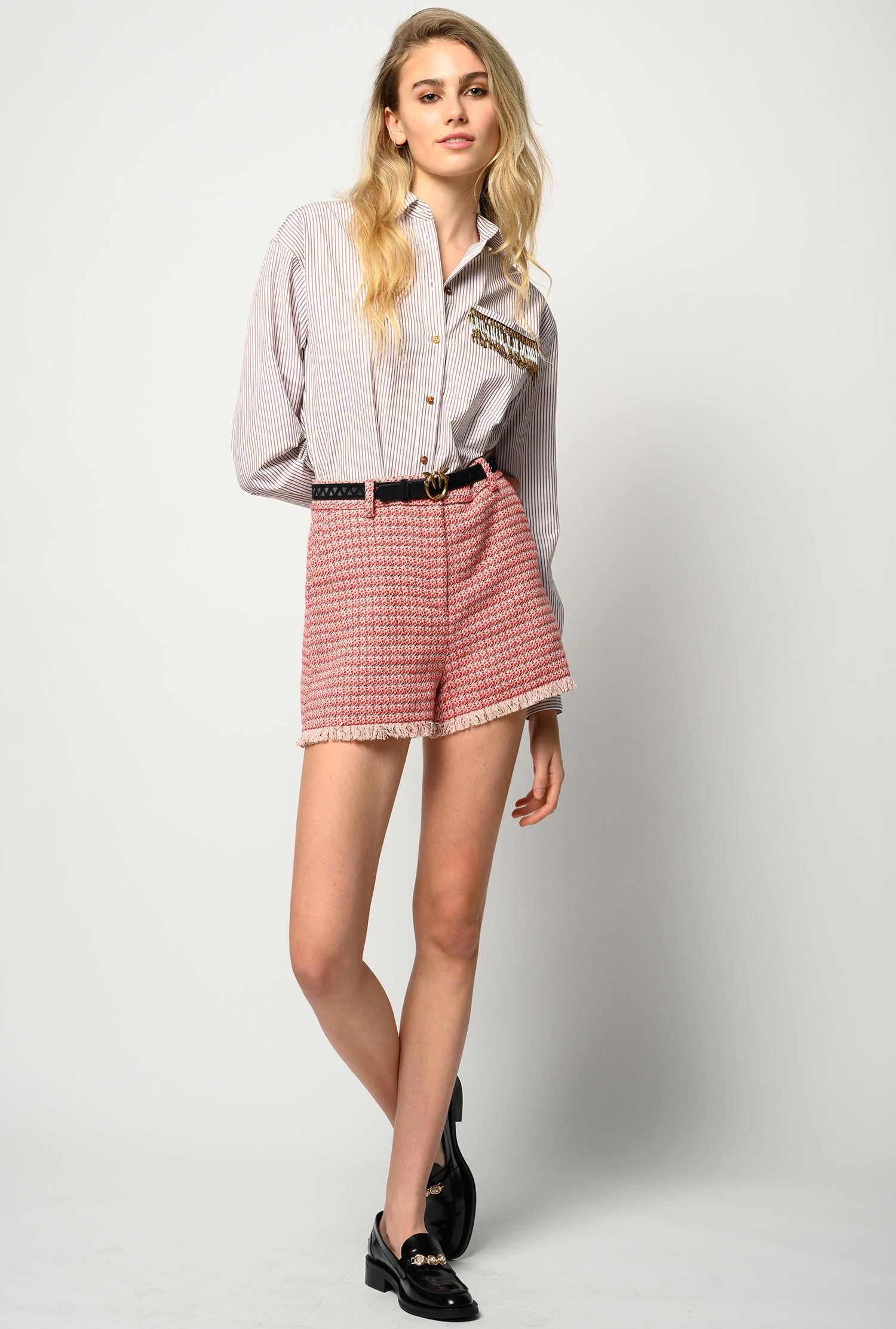 Camicia A Righe Con Perline - Pinko