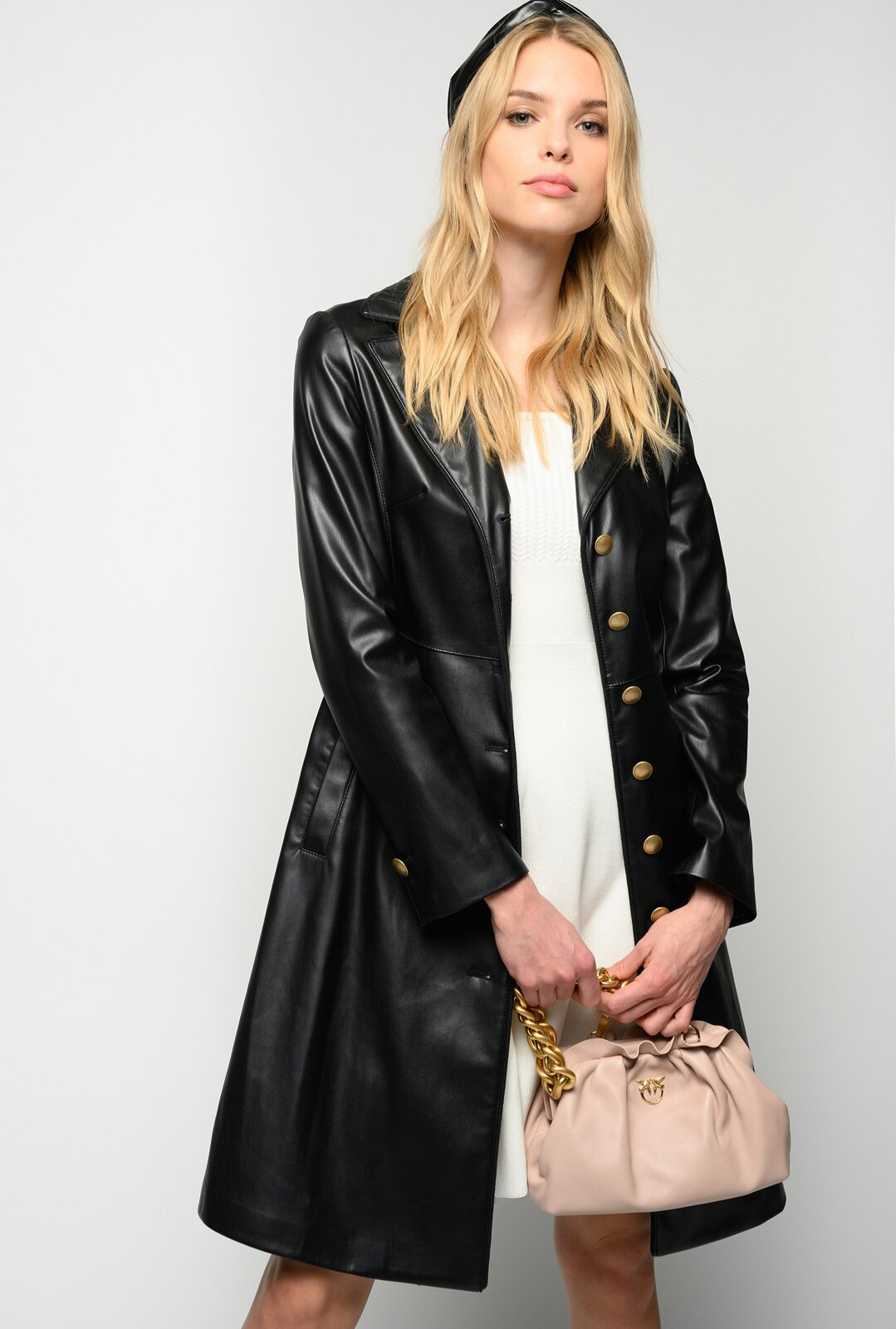Fitted Leather Effect Jacket - Pinko