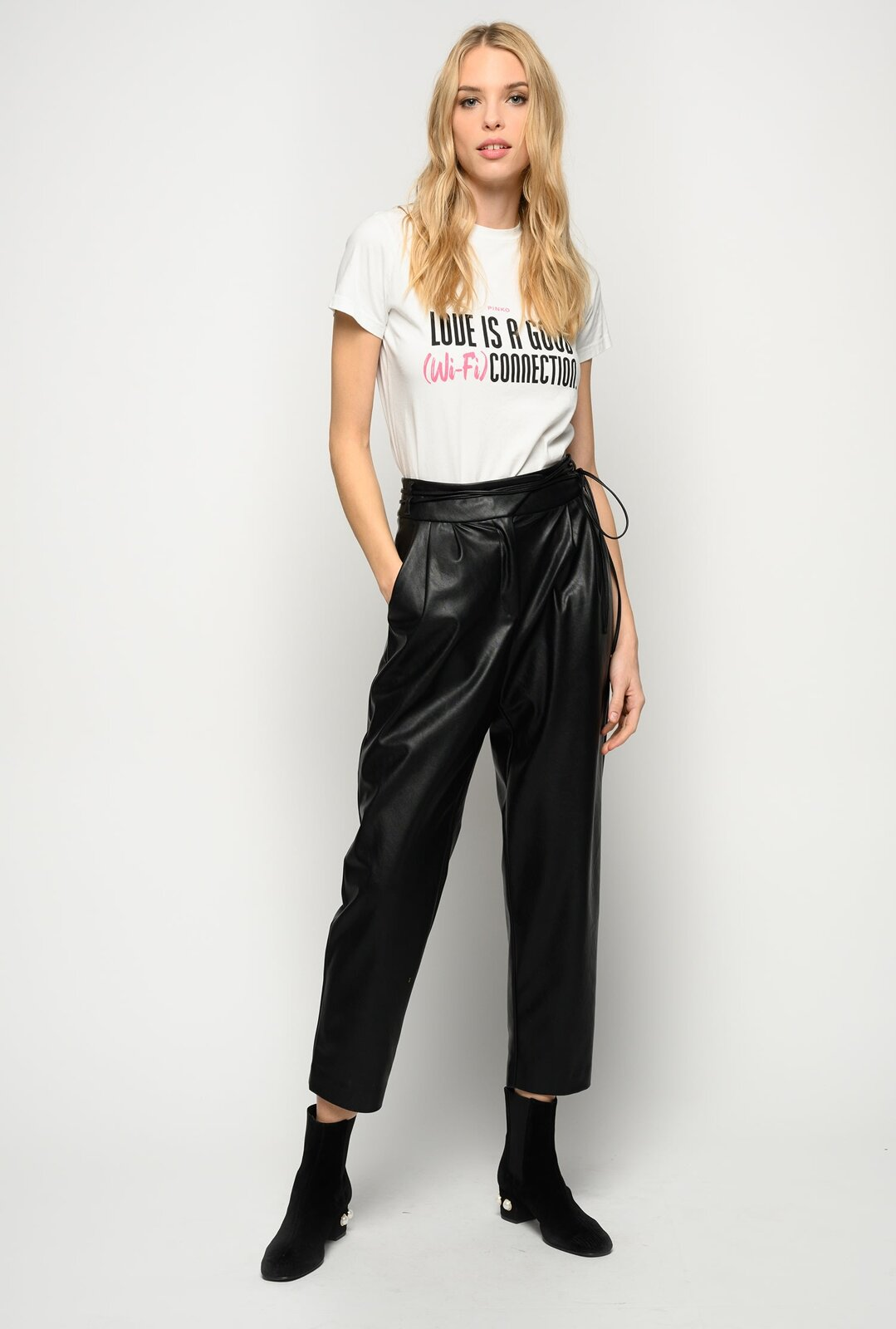Pantaloni Effetto Pelle Con Cintura Sottile - Pinko