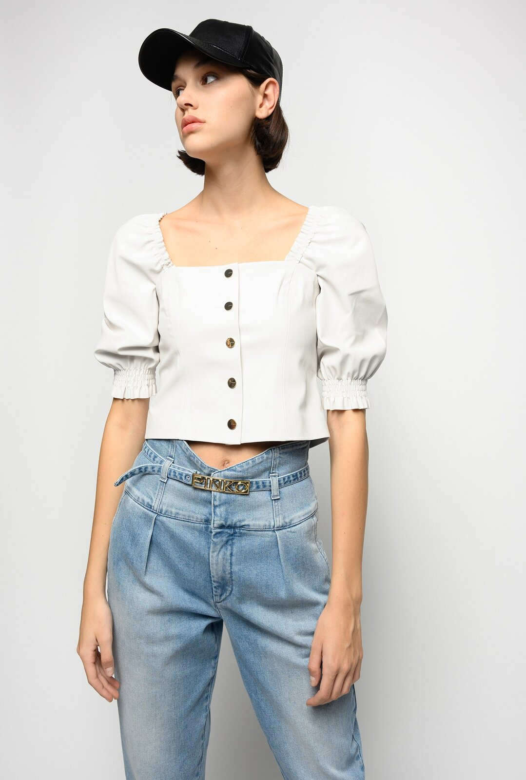 Short Leather Effect Top - Pinko