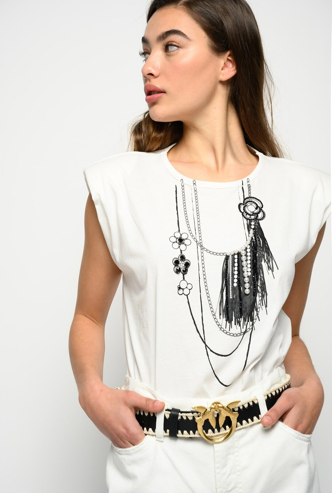 Top With Necklace And Pearls Print - Pinko