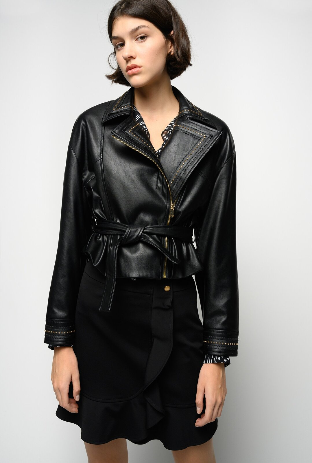 Leather Effect Biker With Studs - Pinko