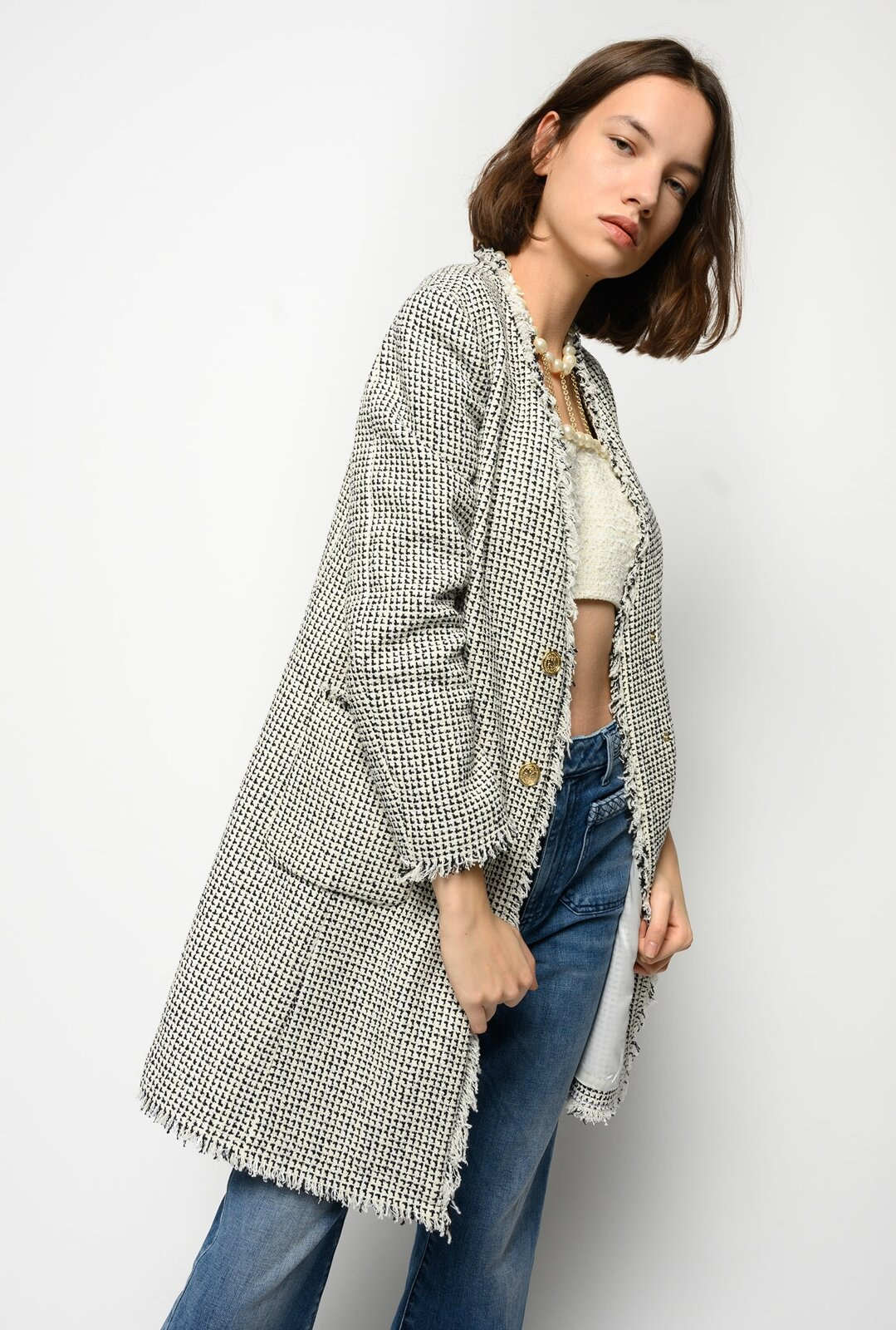 Giacca Lunga In Tweed Fantasia - Pinko