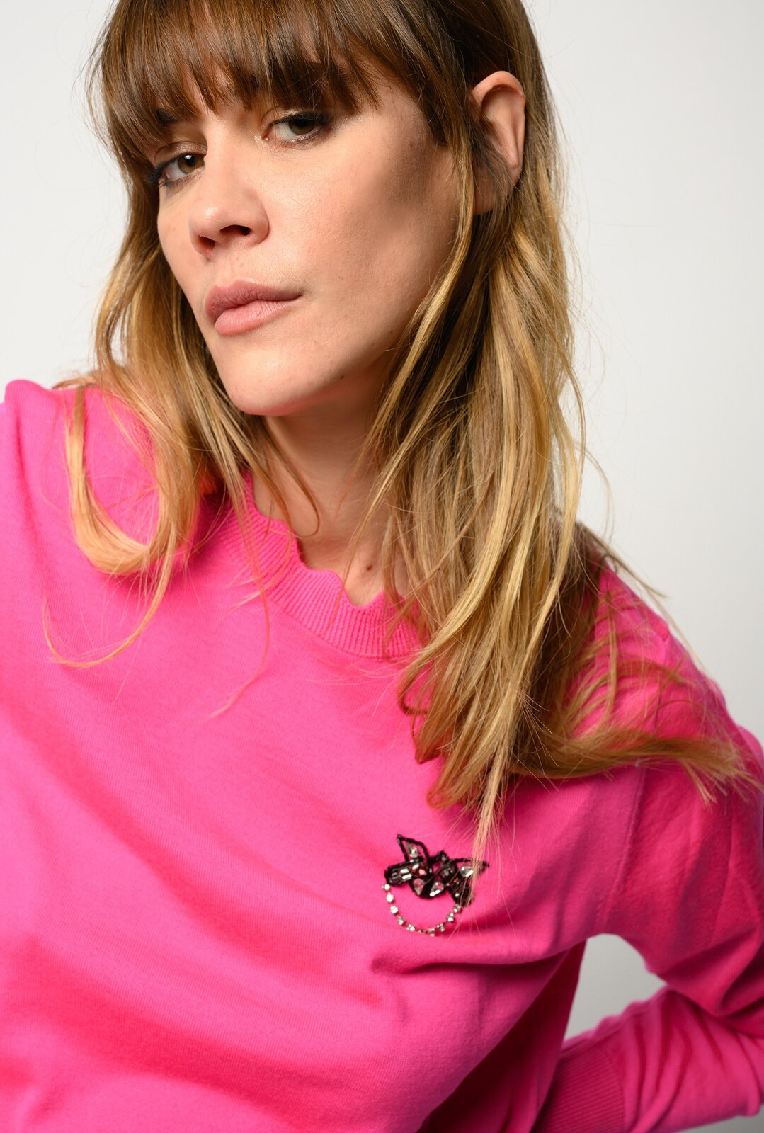 Pullover With Jewel Embroidery Love Birds - Pinko