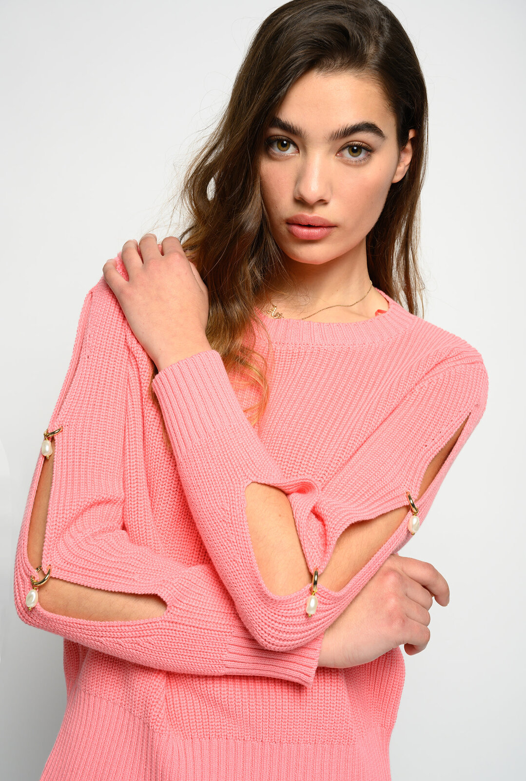 Ribbed Sweater With Side Pearls - Pinko