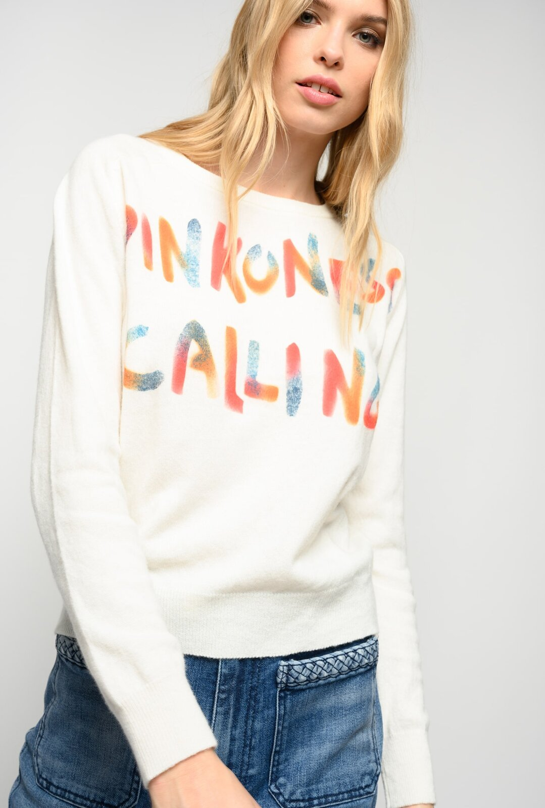 Cashmere Pullover With Print - Pinko