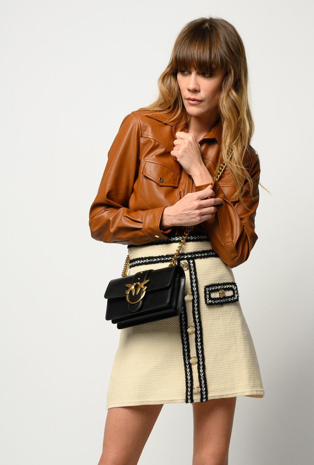 Leather Effect Shirt With Small Studs - Pinko