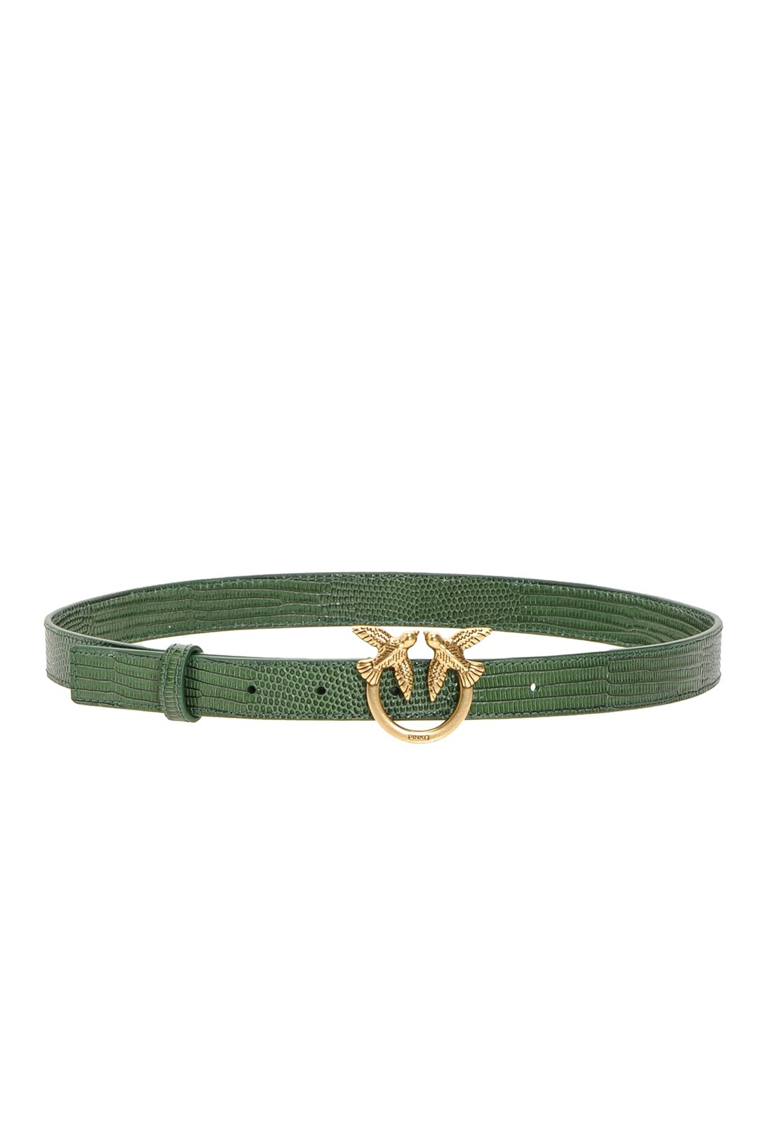 Low Reptile Effect Belt with Love Birds Buckle - Pinko