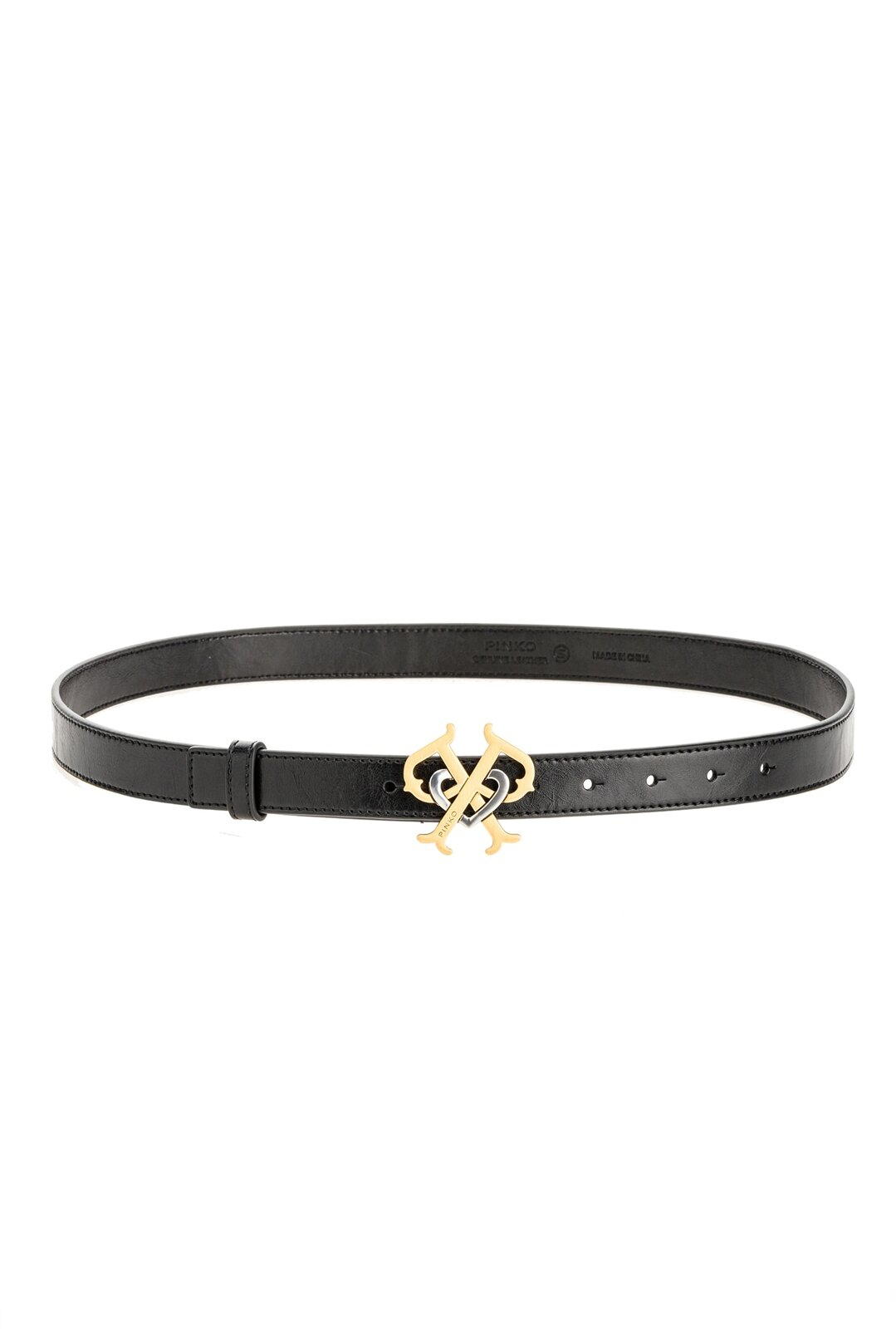 Leather Belt With Double P Buckle - Pinko