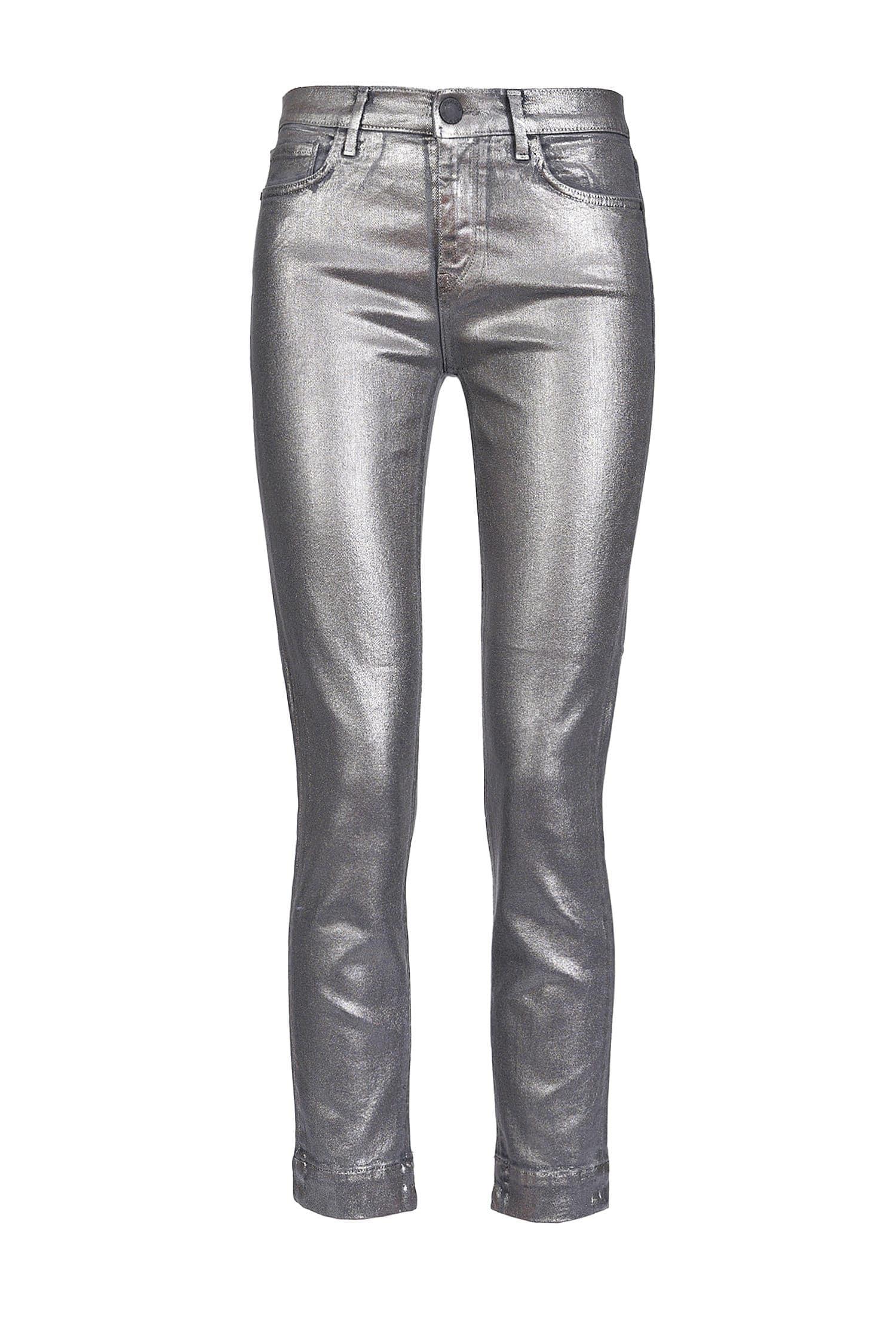 Jeans Skinny In Denim Stretch Metallizzato - Pinko
