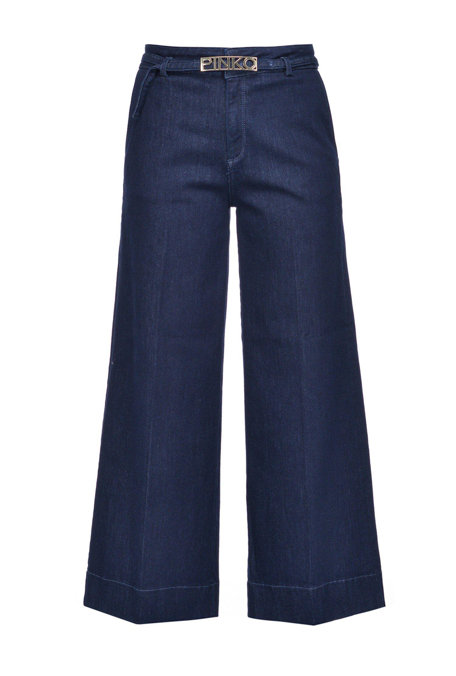 Jeans A Palazzo Slim In Denim Twill Stretch - Pinko