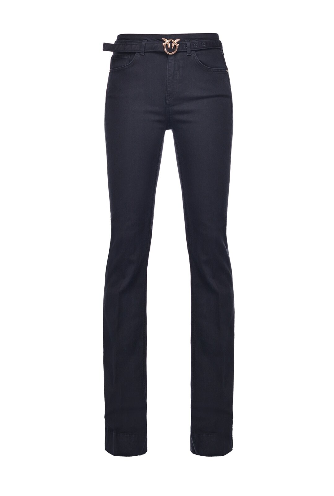 Jeans Flare In Denim Black Stretch Con Cintura - Pinko
