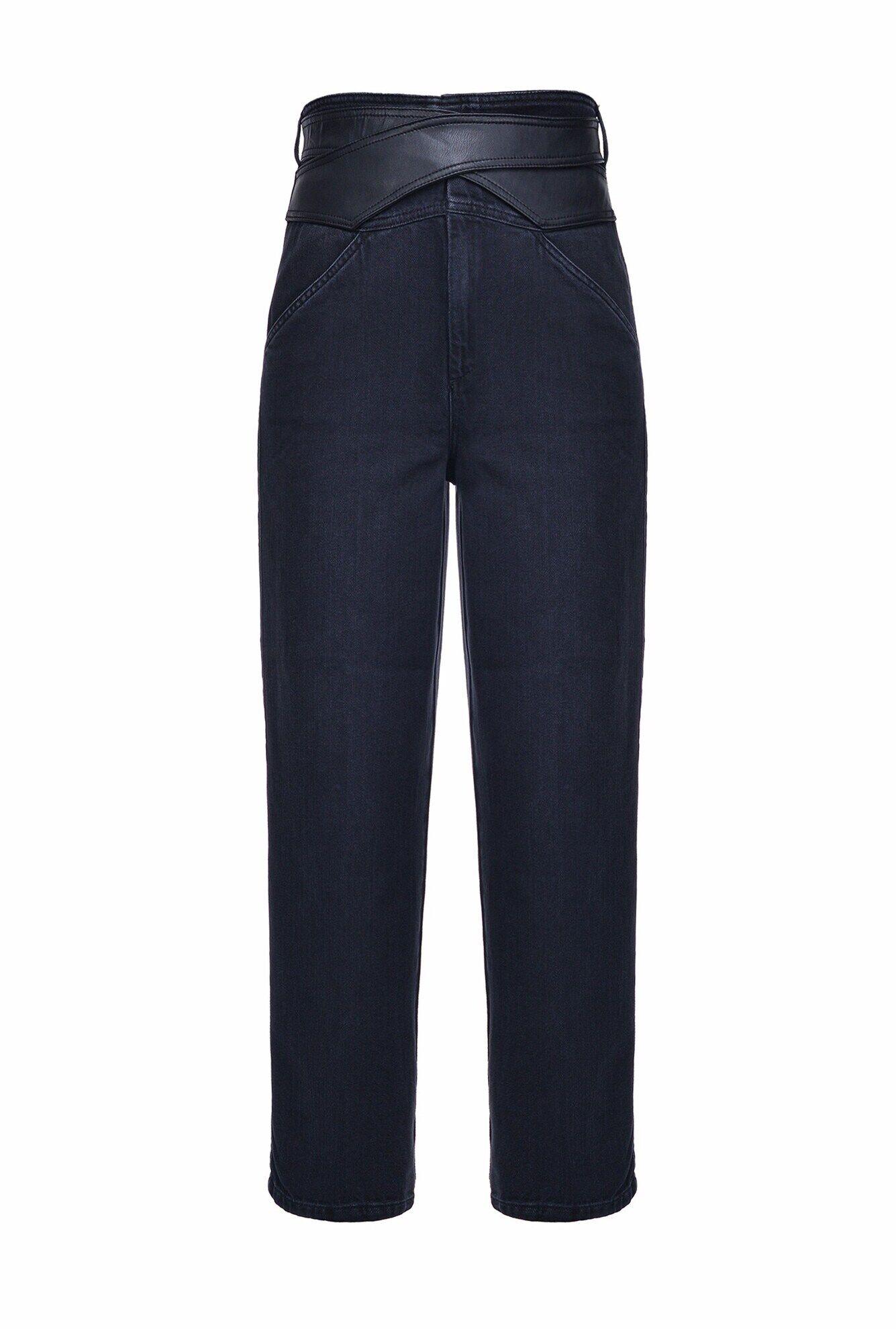 Jeans Con Cintura Effetto Pelle - Pinko