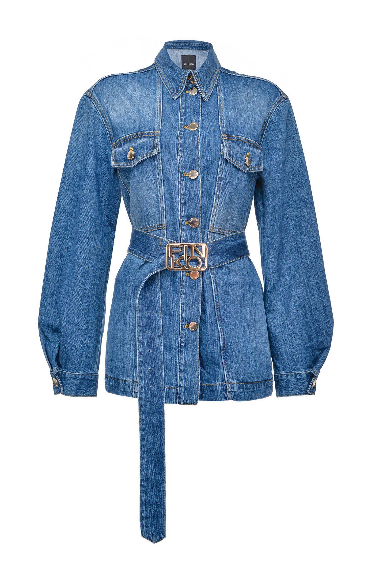 Denim Jacket With Logo Buckle - Pinko