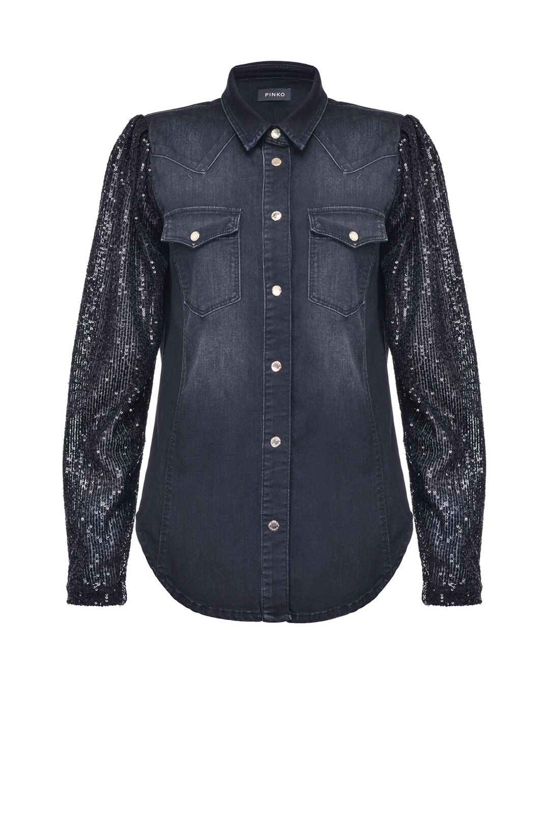 Denim Shirt With Sequined Sleeves - Pinko
