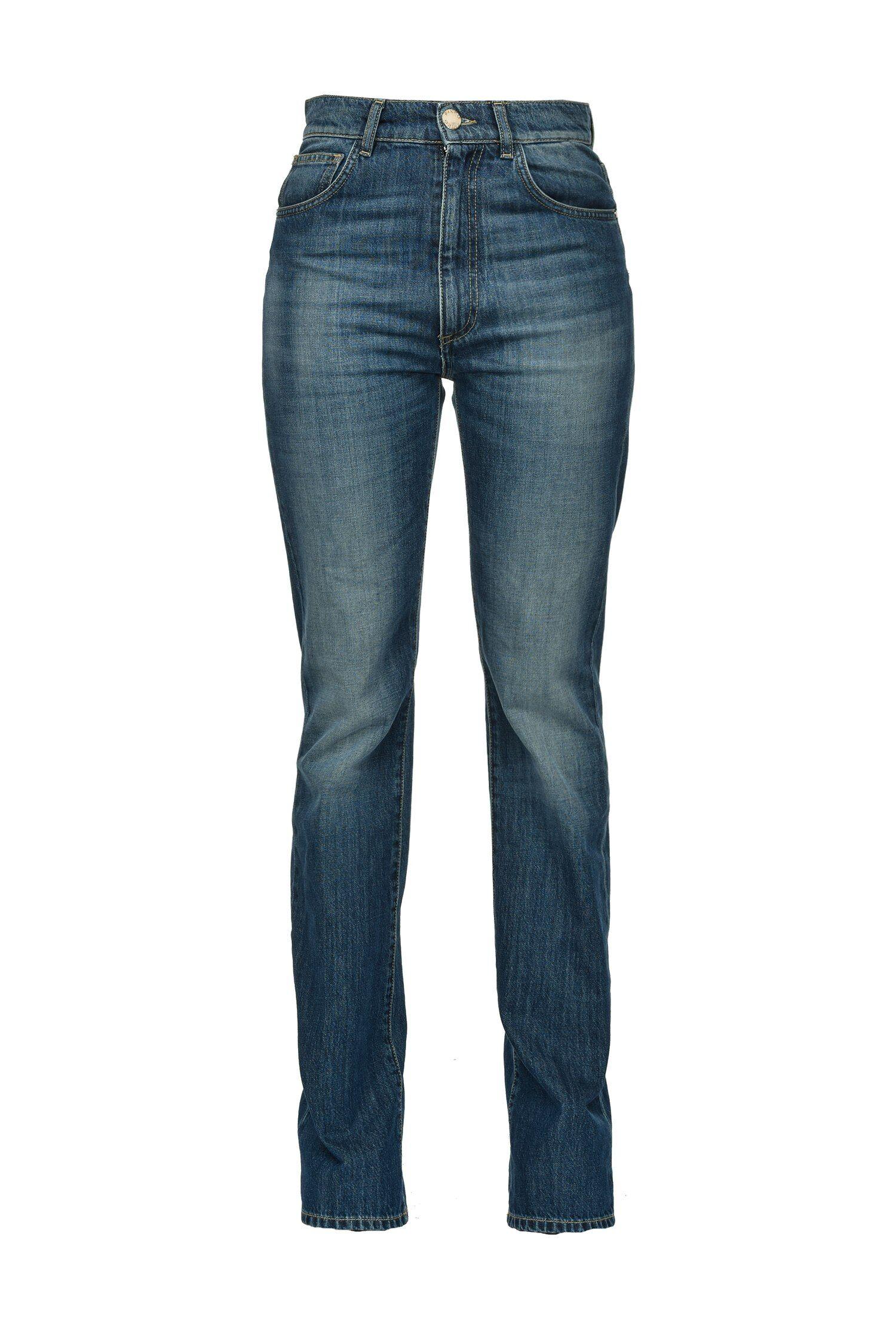 Jeans Straight In Denim Blue Stretch - Pinko
