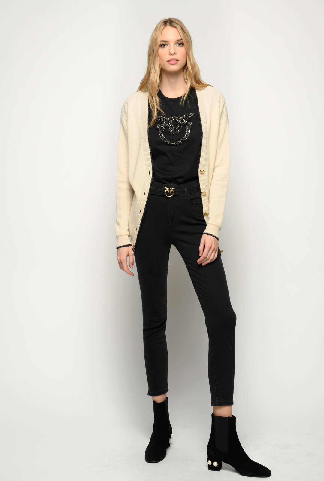 Black Skinny Jeans With Belt - Pinko